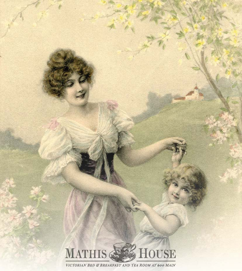 Victorian drawing of mother and daughter