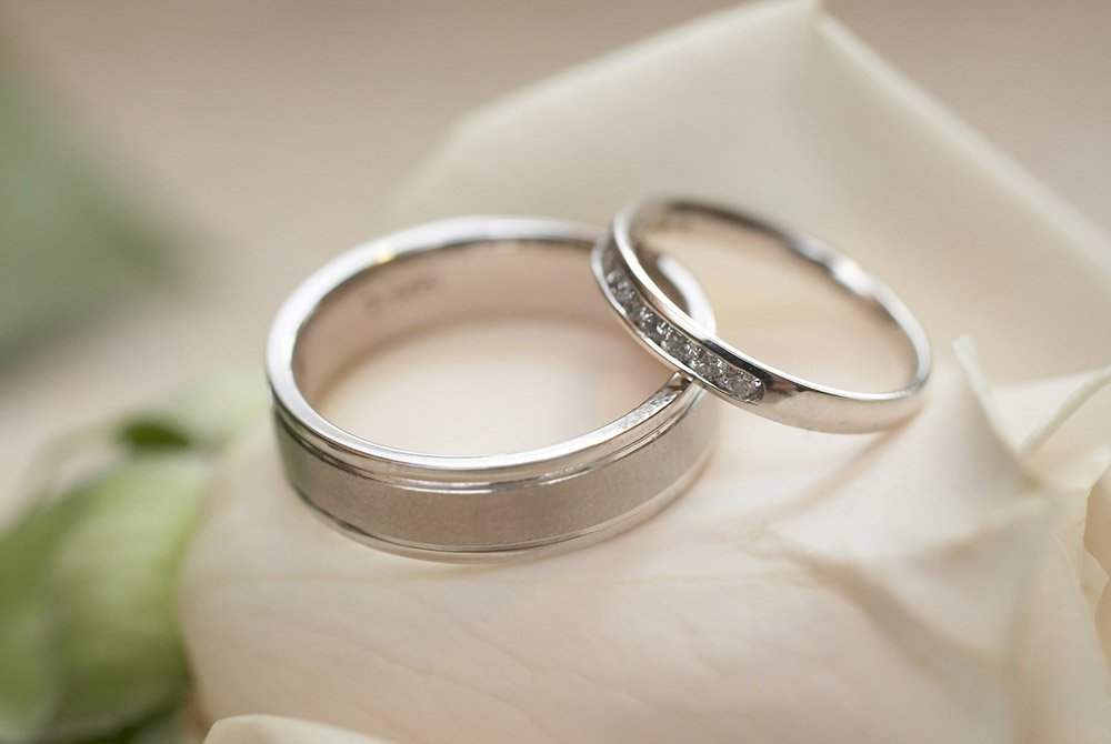 silver wedding bands on a white rose