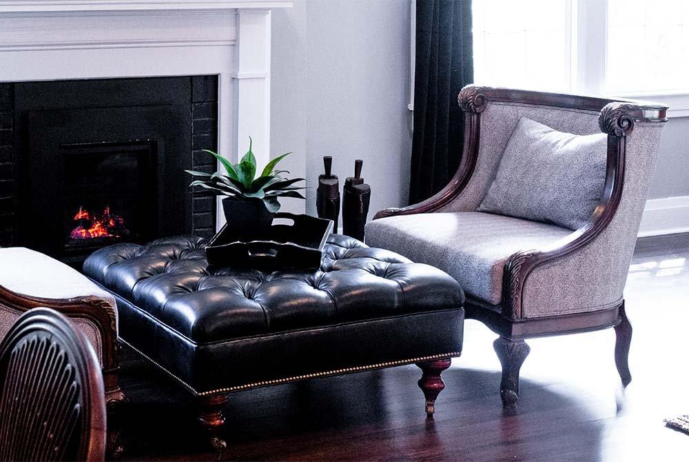 sitting area near fireplace