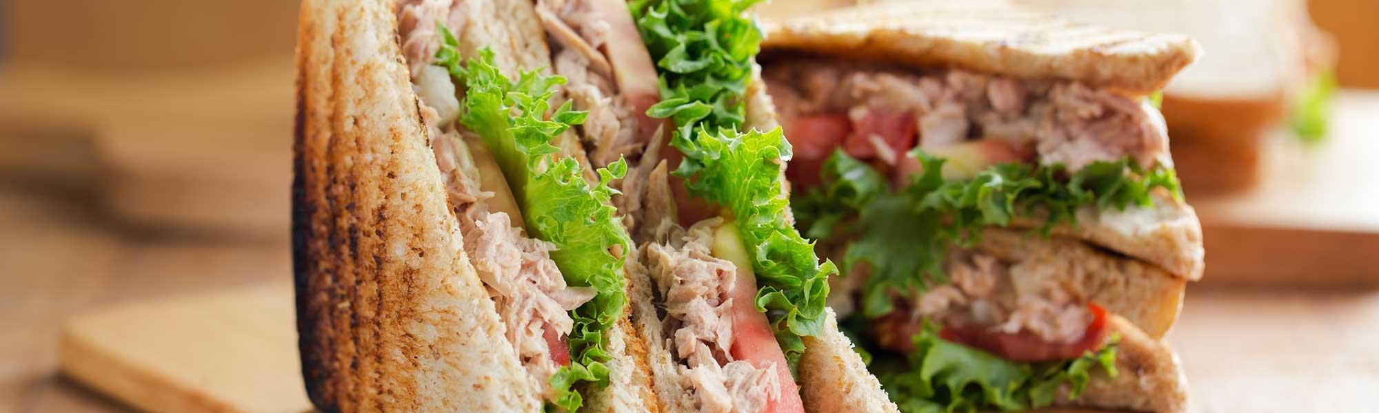 tuna sandwich with tomato and lettuce