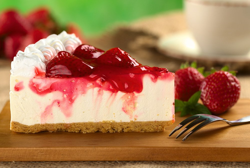 Strawberries on cheesecake